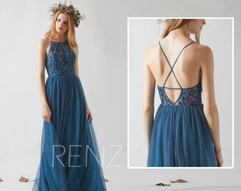 Bridesmaid Dress Ink Blue Tulle Dress,Wedding Dress,Criss Cross Spaghetti Strap Maxi Dress,Lace Illusion A Line Dress,Evening Dress(HS552)