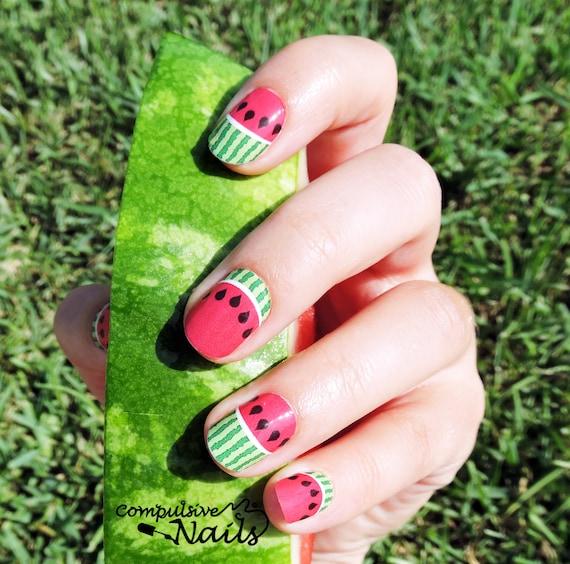 Tiras de esmalte de uñas de verano de sandía Envoltura de