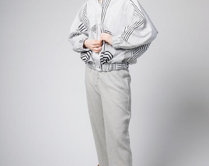 White bomber jacket,Bomber jacket for women, Black and white cotton coat, Retro bomber, 90s inspired puffer jacket, Womens festival clothing