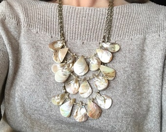 White Shell Multi-Strand Statement Necklace
