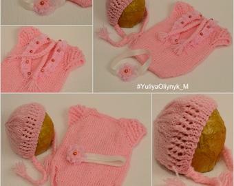 Newborn Romper| Set of 3 pcs.| Newborn Overall & Hat | Newborn photo prop | Newborn knit set | baby photo prop