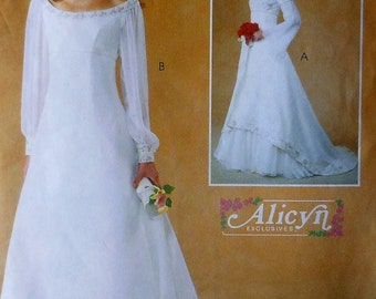 Empire Style Wedding Gown Sewing Pattern UNCUT McCalls 4300 Sizes 8-14 dress formal princess queen