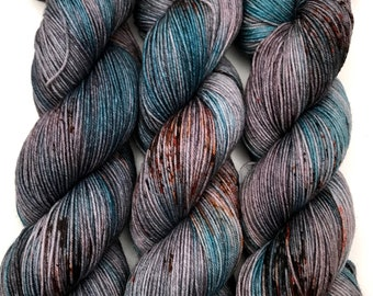 "Hand Dyed Yarn ""Slated"" Grey Blue Turquoise Brown Black Rust Orange Speckled Merino Nylon Fine Fingering Superwash 463yds 100g"