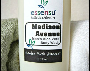 Mens Madison Avenue Organic Aloe Vera Natural Vitamin E Body Wash | Sensitive Skin Formula | Hydrating Formula | Shower Wash | Vegan - 8 oz