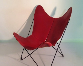 Vintage Original Jorge Ferrari Hardoy Butterfly Chair For Knoll In Red  Leather 50u0027s