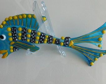 Large and Funky - Fused Glass Transparent BlueTropical Fish