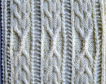 Knit Scarf Pattern:  Bonniebay Cable Lace Scarf Knitting Pattern