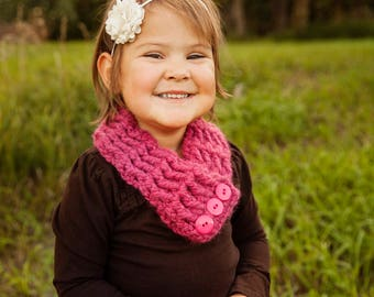 Toddler Scarf Toddler Girl Scarf Toddler Scarves Girls Scarves Womens Scarf Womens Scarves Button Scarf Crochet Cowl Raspberry Pink Scarf