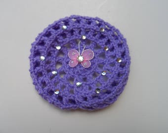 Small Bun Cover w/ Rhinestones & Butterfly, Many Colors, Bun Holder, Crocheted Bun Cover, Bun Net, Snood, Ballet, Dance