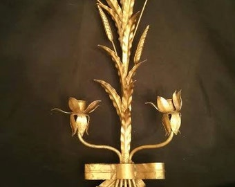 Hollywood Regency Sheaf of Wheat Candle Sconce