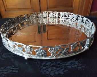Silver Plated grape and leaf design round tray with rim