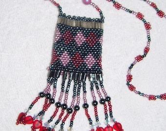 Beaded Amulet Bag Necklace