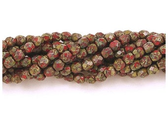 Czech Glass FP Opaque Red Picasso Beads 4mm - 100