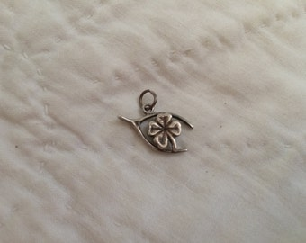 Vintage Sterling Silver Wishbone and Lucky Clover Design Pendant