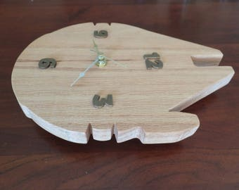 Star Wars Millennium falcon clock, handmade oak