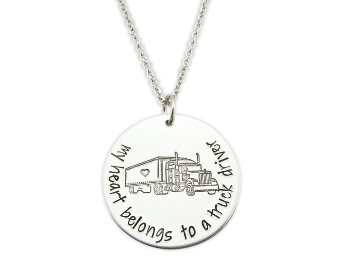 My heart belongs to a truck driver - trucker wife jewelry - i love my truck driver - truck driver wife jewelry - the road has my trucker