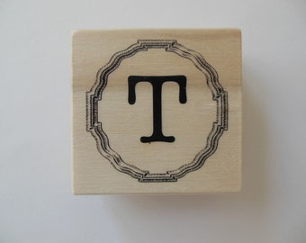 Letter T Rubber Stamp - Gingham Wildflower Collection - Wood Mounted Rubber Stamp - Alphabet Letter T Stamp