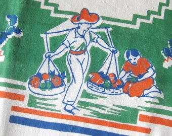 Vintage Tablecloth Mexican Theme Table Linen / Orange Green Blue / Old California Western Theme / Cactus / Ranch Life / Spanish Decor / 50""