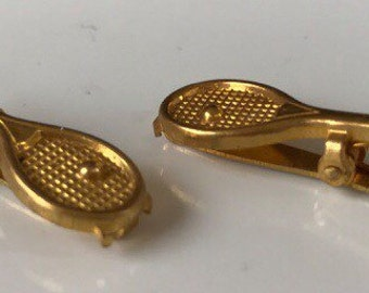 2 Small Gold Vintage Tennis Racket Clips, Jewelry Tie Clothes Clip