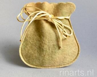 Drawstring bag / drawstring pouch / drawstring purse in golden yellow hand dyed wool felt. Gift under 10.