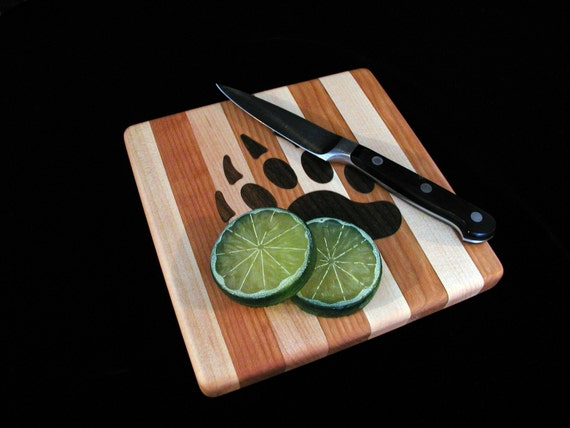 Custom Handmade Square Cutting Board Inlayed with a Bear Claw