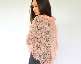 "Shawl pattern ""Evanston"". Hand Knitted Lace Shawl, Wrap, Scarf. Original Design. PDF downloadable pattern. LaceKnit Design"