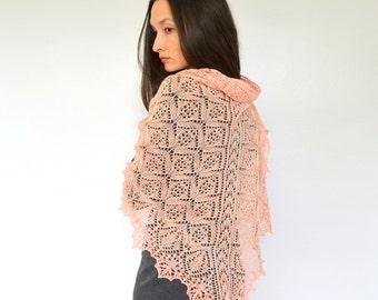 "Shawl pattern ""Evanston"". Hand Knitted Lace Shawl, Wrap, Scarf. Original Design. PDF downloadable pattern. LaceKnit Design"