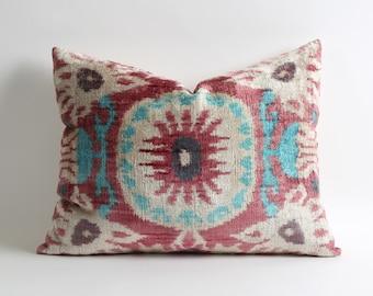 Pink decorative silk velvet ikat pillow cover // 16x20 handwoven hand dyed pink boho pillows // lumbar ikat velvet pillow