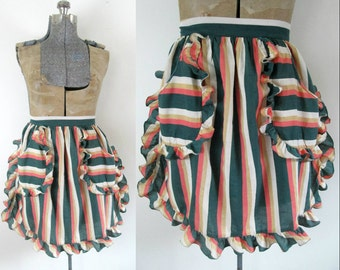 1940s Striped Ruffled Apron Vintage Cook Kitchen Home Hostess Gift