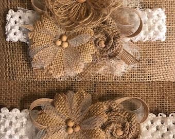Rustic Country Wedding Bride Garter Set Loop Burlap Flowers Tulle Ribbon Rose Bud White or Ivory
