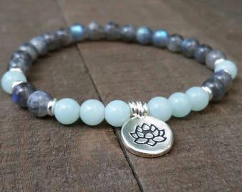 LATE SHIP Labradorite and amozonite yoga bracelet energy bracelet wrist mala lotus bracelet summer natural gemstones chakra earthy bracelet