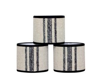 Grain Sack Chandelier Shade - Black Stripe - Sconce Shade - Vintage Fabric - Drum Shade - Natural Hemp - Farmhouse - Industrial - Lampshades