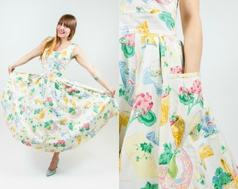 80s Does 1950s Novelty Print Basket Summer Dress with Pockets | Day Dress | Sundress | Basket Print | 50s Dress | 1980s | Fruit Print