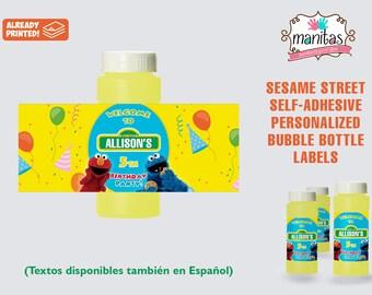 Sesame Street Birthday Self-adhesive Bubble Bottle Label 20+ pack - Sesame Street Party - Sesame Street Favors - Sesame Street