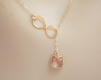 Gold Filled Infinity Lariat Necklace, Infinity Pendant, Glass, Peach Necklace, Champagne Blush, Eternity Necklace, Mom Gift, Bridesmaid Gift