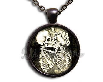 Gothic Skeleton Love Glass Dome Pendant or with Chain Link Necklace SM160