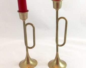 Vintage Brass Candleholders x 2/Brass Trumpet Candlestick Holders