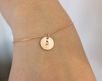 Initial bracelet, letter bracelet, bridesmaid gift, personalized bracelet, delicate rose gold bracelet, sister gift, gift for best friend,