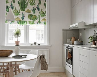 Cacti Village, Plant Roman Shade, Kitchen Shade, Fabric Blinds, Fabric  Shades,