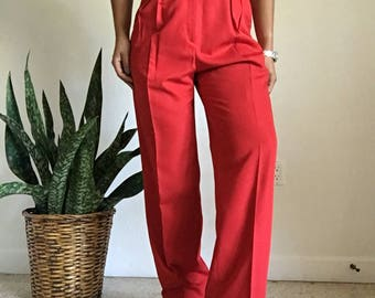 vintage high waisted pleated red trousers