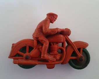 Vintage 1930's Auburn Rubber toys Police Motorcycle, Red with green tires in great pliable condition.  Harley-Davidson,  Indian Motorcycles