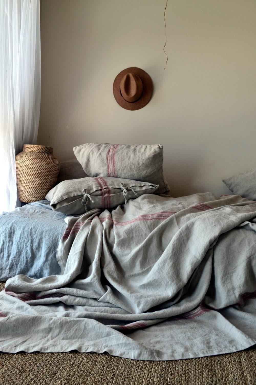 Vintage Grainsack Heavy Linen Coverlet Bed Coverquilt