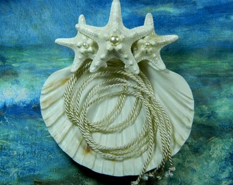 Seashell Ring Pillow - Pearl Seastar - Starfish Seashell Ring Bearer's Pillow