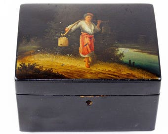 Antique Russian Pre-Revolution Hand Painted Lacquer Box Vishnyakov