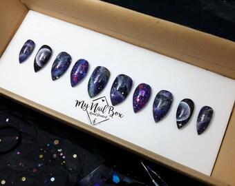 Galaxy Nails | Press on nails |  Fake Nails | Set | Nail Art | False Nails | Glue On Nails | Reusable Nails | Handpainted Nail Art