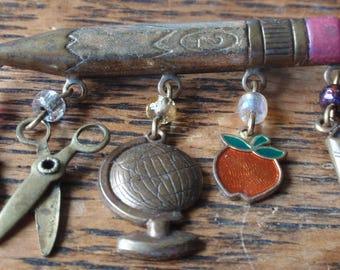 Unique Number 2 Pencil Charm Brooch