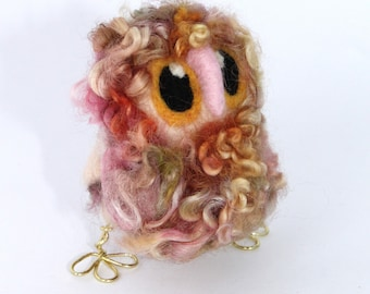 Owl Baby, Felt Owl, Pink Sandy, Needle Felted Limited edition Owl Baby in Hand Dyed Wensleydale Wool