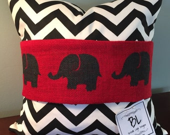 18x18 Black and White Chevron Pillow with envelope closure/ Removable Burlap Band/Roll Tide