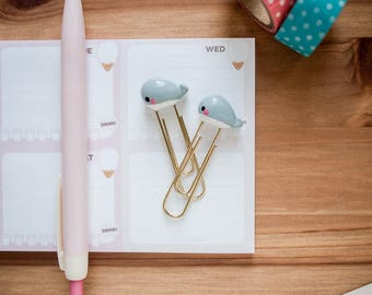 Cute Gray Whale Planner Paperclip - Gold Paperclip - Gray Whale Bookmarks - Shark Polymerclay Paperclip
