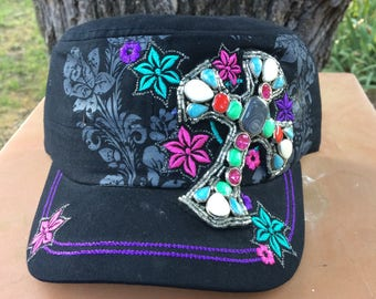 Black Cadet Cap Vintage Look with Large Mosaic Cross in Red, Turquoise and White
